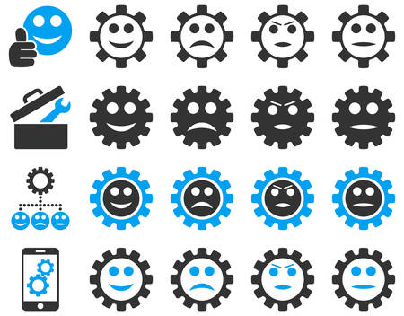 hardware configuration: Tools and Smile Gears Icons. Vector set style is bicolor flat images, blue and gray colors, isolated on a white background. Illustration