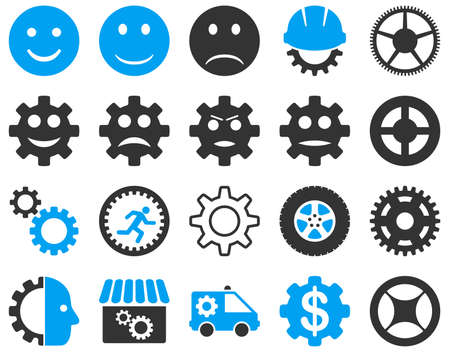 Tools and Smile Gears Icons. Vector set style is bicolor flat images, blue and gray colors, isolated on a white background. Illustration