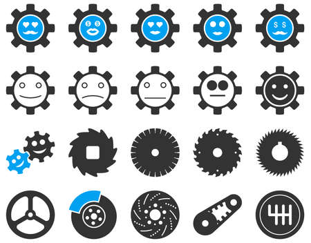 smiley face car: Tools and Smile Gears Icons. Vector set style is bicolor flat images, blue and gray colors, isolated on a white background. Illustration