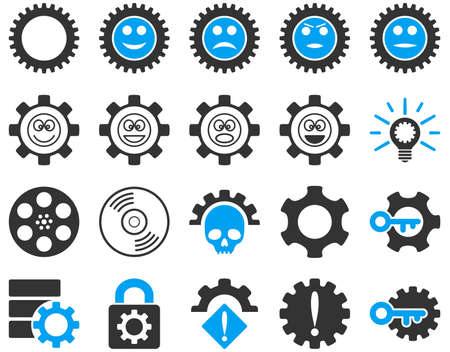 play poison: Tools and Smile Gears Icons. Vector set style is bicolor flat images, blue and gray colors, isolated on a white background. Illustration