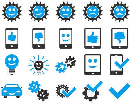 gear box: Tools and Smile Gears Icons. Vector set style is bicolor flat images, blue and gray colors, isolated on a white background. Illustration