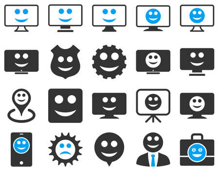setup man: Tools, gears, smiles, dilspays icons. Vector set style is bicolor flat images, blue and gray symbols, isolated on a white background. Illustration