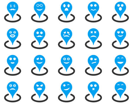 blind woman: Smiled location icons. Vector set style is bicolor flat images, blue and gray symbols, isolated on a white background.