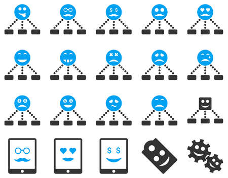 sexy tongue: Smile, emotion, relations and tablet icons. Vector set style is bicolor flat images, blue and gray symbols, isolated on a white background.