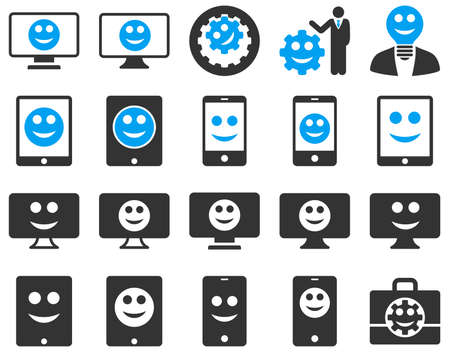 displays: Tools, options, smiles, displays, devices icons. Vector set style is bicolor flat images, blue and gray symbols, isolated on a white background.