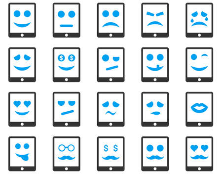 tiers: Emotion mobile tablet icons. Vector set style is bicolor flat images, blue and gray symbols, isolated on a white background.