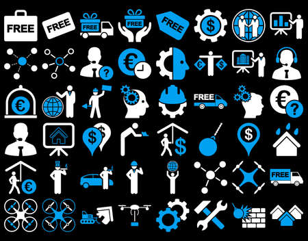 gear box: Business Icon Set. These flat bicolor icons use blue and white colors. Vector images are isolated on a black background.