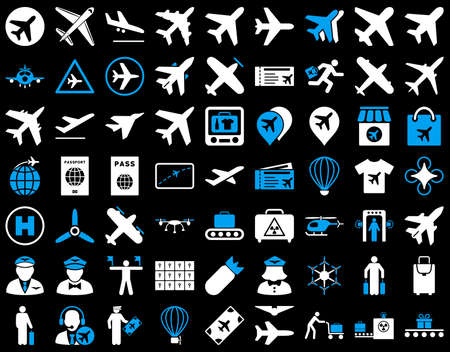 Aviation Icon Set. These flat bicolor icons use blue and white colors. Vector images are isolated on a black background. Vettoriali