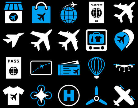 t document: Airport Icon Set. These flat bicolor icons use blue and white colors. Vector images are isolated on a black background.