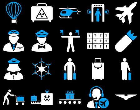 Airport Icon Set. These flat bicolor icons use blue and white colors. Vector images are isolated on a black background. Imagens - 42490402