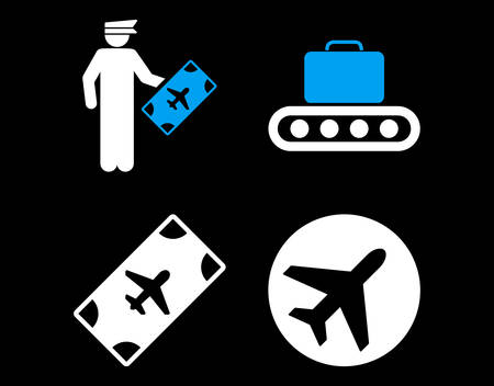 usaf: Aviation Icon Set. These flat bicolor icons use blue and white colors. Vector images are isolated on a black background. Illustration