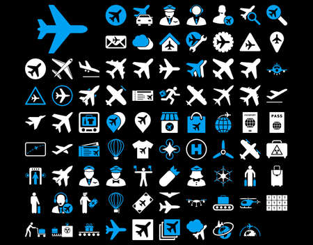 Aviation Icon Set. These flat bicolor icons use blue and white colors. Vector images are isolated on a black background. Ilustração