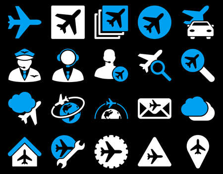 Aviation Icon Set. These flat bicolor icons use blue and white colors. Vector images are isolated on a black background. Stock Illustratie