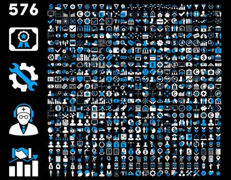도구 모음 아이콘을 설정합니다. 576 플랫 바이 컬러 아이콘은 파란색과 흰색 색상을 사용합니다. 벡터 이미지는 검은 배경에 격리됩니다.