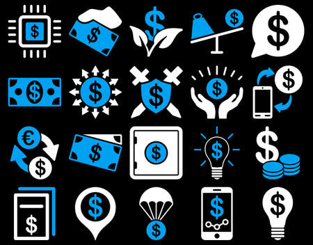 purchase order: Dollar Icon Set. These flat bicolor icons use blue and white colors. Vector images are isolated on a black background.