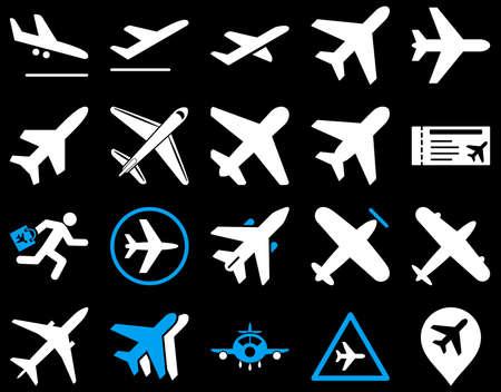 descend: Aviation Icon Set. These flat bicolor icons use blue and white colors. Vector images are isolated on a black background. Illustration