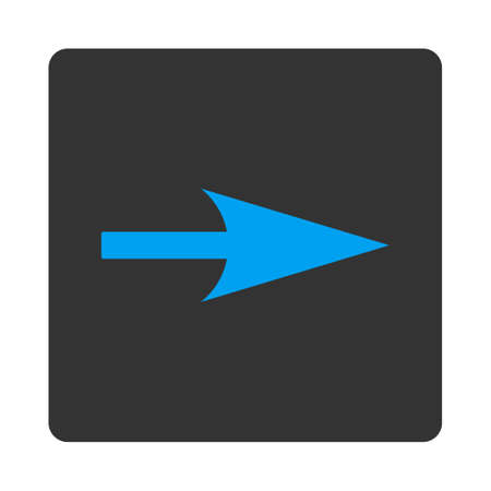 x axis: Arrow Axis X icon from Primitive Buttons OverColor Set. This rounded square flat button is drawn with blue and gray colors on a white background.