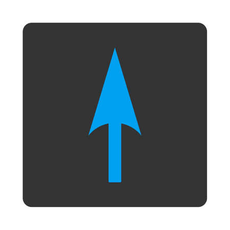 y axis: Arrow Axis Y icon from Primitive Buttons OverColor Set. This rounded square flat button is drawn with blue and gray colors on a white background.
