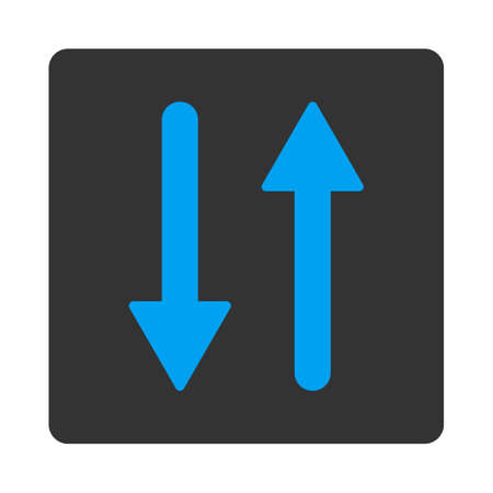 inverse: Arrows Exchange Vertical icon from Primitive Buttons OverColor Set. This rounded square flat button is drawn with blue and gray colors on a white background. Illustration
