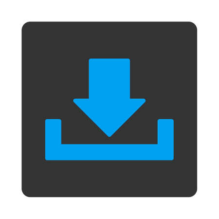 dropbox: Download icon from Primitive Buttons OverColor Set. This rounded square flat button is drawn with blue and gray colors on a white background. Illustration