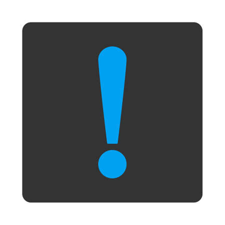exclaim: Exclamation Sign icon from Primitive Buttons OverColor Set. This rounded square flat button is drawn with blue and gray colors on a white background. Illustration