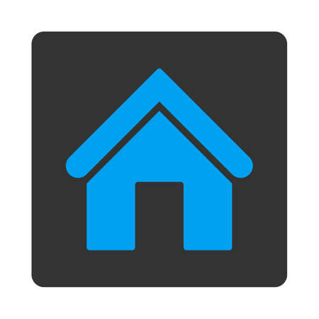 Home icon from Primitive Buttons OverColor Set. This rounded square flat button is drawn with blue and gray colors on a white background.