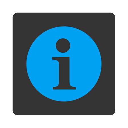 hint: Information icon from Primitive Buttons OverColor Set. This rounded square flat button is drawn with blue and gray colors on a white background.