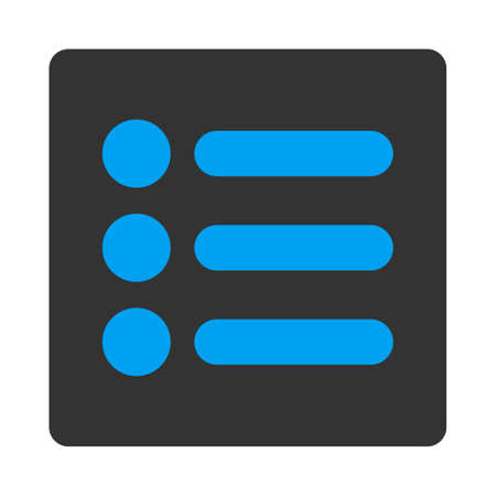 numeration: Items icon from Primitive Buttons OverColor Set. This rounded square flat button is drawn with blue and gray colors on a white background.