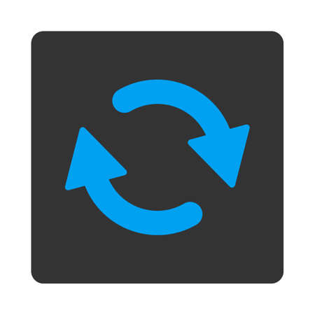 new direction: Refresh icon from Primitive Buttons OverColor Set. This rounded square flat button is drawn with blue and gray colors on a white background. Illustration