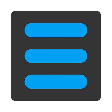 numerate: Stack icon from Primitive Buttons OverColor Set. This rounded square flat button is drawn with blue and gray colors on a white background.