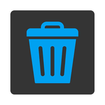 Trash Can icon from Primitive Buttons OverColor Set. This rounded square flat button is drawn with blue and gray colors on a white background. Illustration