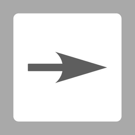x axis: Arrow Axis X icon from Primitive Buttons OverColor Set. This rounded square flat button is drawn with dark gray and white colors on a silver background. Stock Photo
