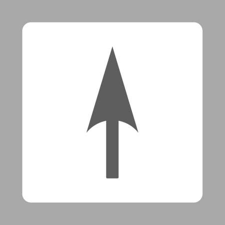 y axis: Arrow Axis Y icon from Primitive Buttons OverColor Set. This rounded square flat button is drawn with dark gray and white colors on a silver background. Stock Photo