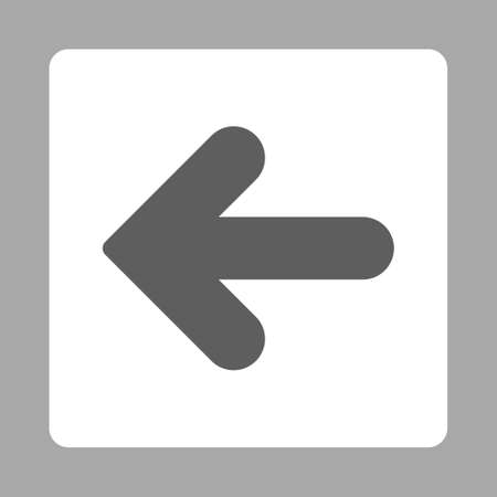 arrow left icon: Arrow Left icon from Primitive Buttons OverColor Set. This rounded square flat button is drawn with dark gray and white colors on a silver background.