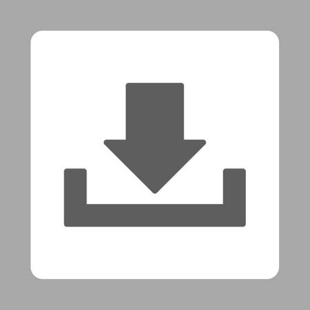 dropbox: Download icon from Primitive Buttons OverColor Set. This rounded square flat button is drawn with dark gray and white colors on a silver background. Stock Photo