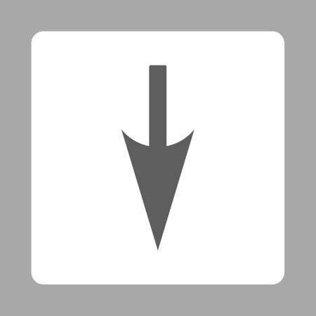 y axis: Sharp Down Arrow icon from Primitive Buttons OverColor Set. This rounded square flat button is drawn with dark gray and white colors on a silver background. Stock Photo