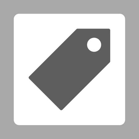 operand: Tag icon from Primitive Buttons OverColor Set. This rounded square flat button is drawn with dark gray and white colors on a silver background. Stock Photo