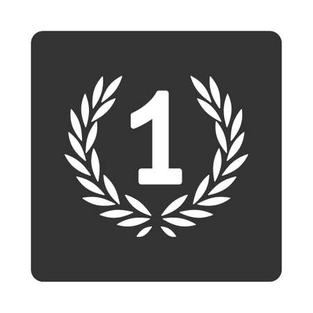 cognizance: Win icon from Award Buttons OverColor Set. Icon style is white and gray colors, flat rounded square button, white background.