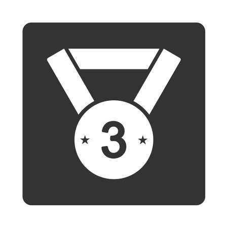 favorite number: Third medal icon from Award Buttons OverColor Set. Icon style is white and gray colors, flat rounded square button, white background.