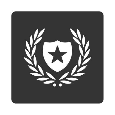 cognizance: Shield icon from Award Buttons OverColor Set. Icon style is white and gray colors, flat rounded square button, white background.