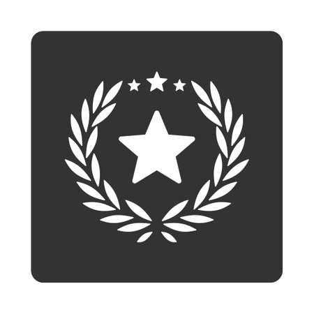 cognizance: Proud icon from Award Buttons OverColor Set. Icon style is white and gray colors, flat rounded square button, white background.