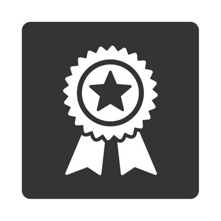 favorite number: Guarantee icon from Award Buttons OverColor Set. Icon style is white and gray colors, flat rounded square button, white background. Illustration
