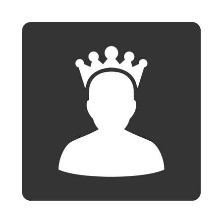 czar: King icon from Award Buttons OverColor Set. Icon style is white and gray colors, flat rounded square button, white background.
