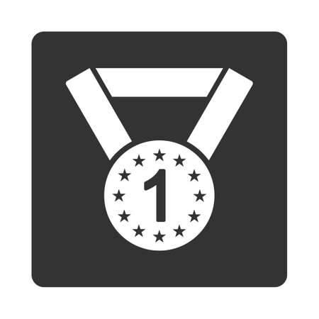 favorite number: First medal icon from Award Buttons OverColor Set. Icon style is white and gray colors, flat rounded square button, white background.