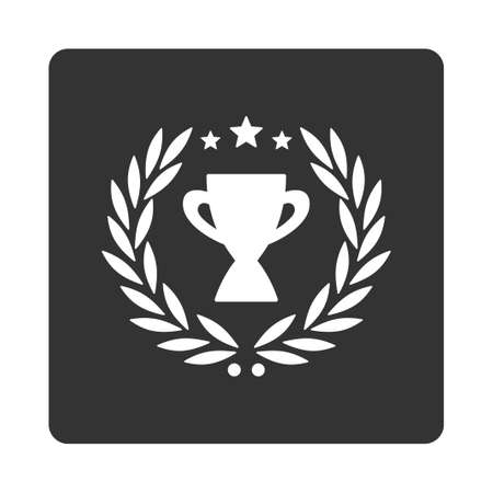 cognizance: Glory icon from Award Buttons OverColor Set. Icon style is white and gray colors, flat rounded square button, white background.