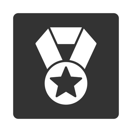 favorite number: Champion medal icon from Award Buttons OverColor Set. Icon style is white and gray colors, flat rounded square button, white background.