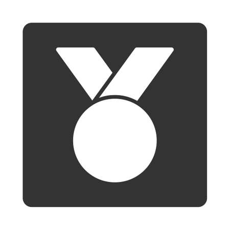 favorite number: Army medal icon from Award Buttons OverColor Set. Icon style is white and gray colors, flat rounded square button, white background.