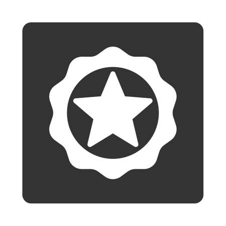 favorite number: Award seal icon from Award Buttons OverColor Set. Icon style is white and gray colors, flat rounded square button, white background. Illustration