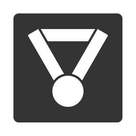 favorite number: Champion award icon from Award Buttons OverColor Set. Icon style is white and gray colors, flat rounded square button, white background.