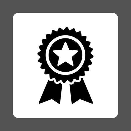 quality guarantee: Guarantee icon from Award Buttons OverColor Set. Icon style is black and white colors, flat rounded square button, gray background. Stock Photo